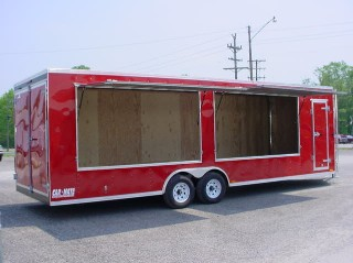 Carmate Vending Trailer with Double Window Options - Red
